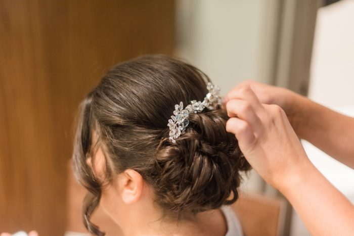 Bridal Updo: Glamorous Black, White, & Gold Wedding with a Pittsburgh Theme at the Heinz History Center from Sky's the Limit Photography featured on Burgh Brides