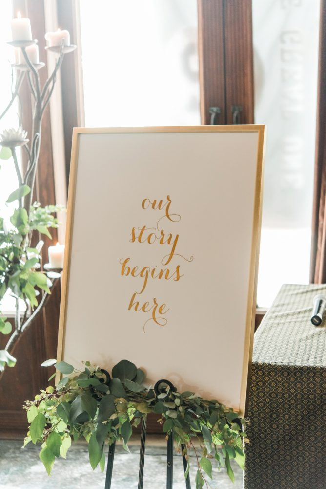 Wedding Signs: Glamorous Black, White, & Gold Wedding with a Pittsburgh Theme at the Heinz History Center from Sky's the Limit Photography featured on Burgh Brides