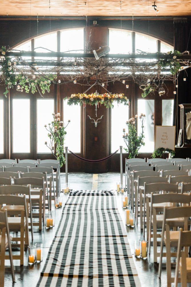 Wedding Ceremony Ideas: Glamorous Black, White, & Gold Wedding with a Pittsburgh Theme at the Heinz History Center from Sky's the Limit Photography featured on Burgh Brides