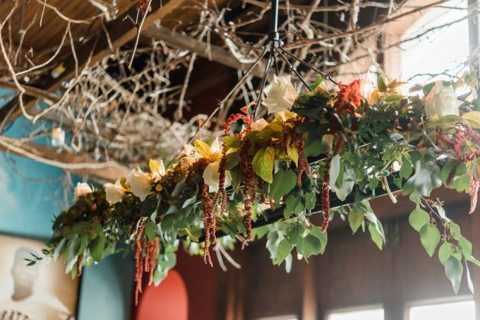 Hanging Wedding Florals: Glamorous Black, White, & Gold Wedding with a Pittsburgh Theme at the Heinz History Center from Sky's the Limit Photography featured on Burgh Brides