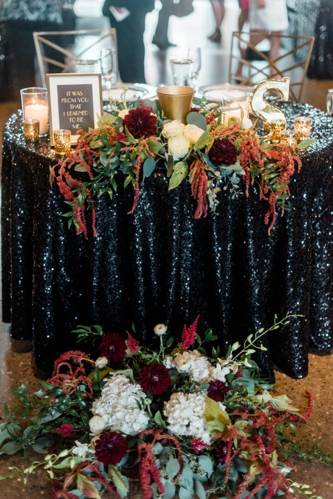 Sweetheart Table Ideas: Glamorous Black, White, & Gold Wedding with a Pittsburgh Theme at the Heinz History Center from Sky's the Limit Photography featured on Burgh Brides