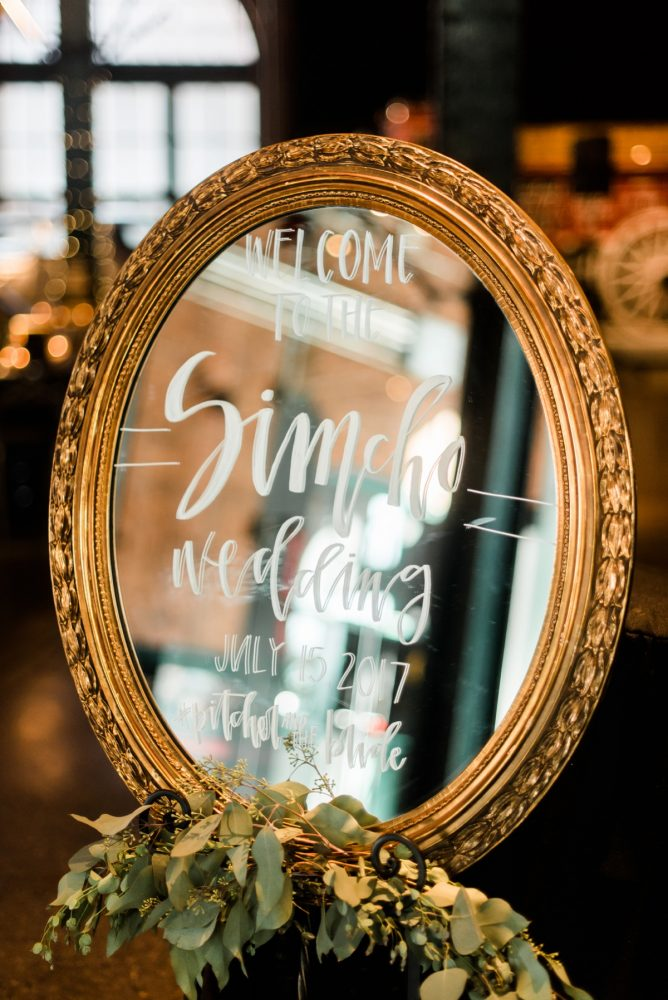 Mirror Wedding Sign: Glamorous Black, White, & Gold Wedding with a Pittsburgh Theme at the Heinz History Center from Sky's the Limit Photography featured on Burgh Brides
