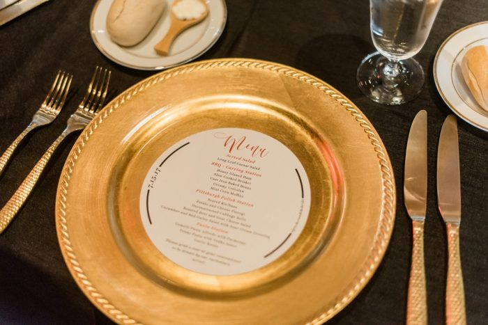 Wedding Menu Card Ideas: Glamorous Black, White, & Gold Wedding with a Pittsburgh Theme at the Heinz History Center from Sky's the Limit Photography featured on Burgh Brides