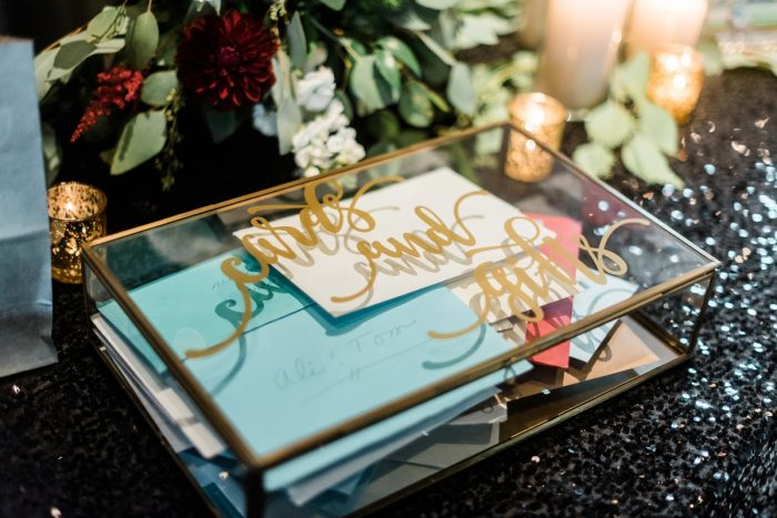 Wedding Card Box Ideas: Glamorous Black, White, & Gold Wedding with a Pittsburgh Theme at the Heinz History Center from Sky's the Limit Photography featured on Burgh Brides