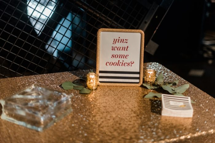 Pittsburgh Wedding Cookie Table Ideas: Glamorous Black, White, & Gold Wedding with a Pittsburgh Theme at the Heinz History Center from Sky's the Limit Photography featured on Burgh Brides