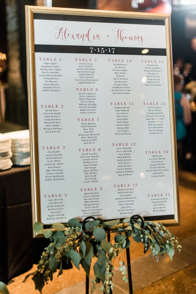 Wedding Seating Chart Ideas: Glamorous Black, White, & Gold Wedding with a Pittsburgh Theme at the Heinz History Center from Sky's the Limit Photography featured on Burgh Brides