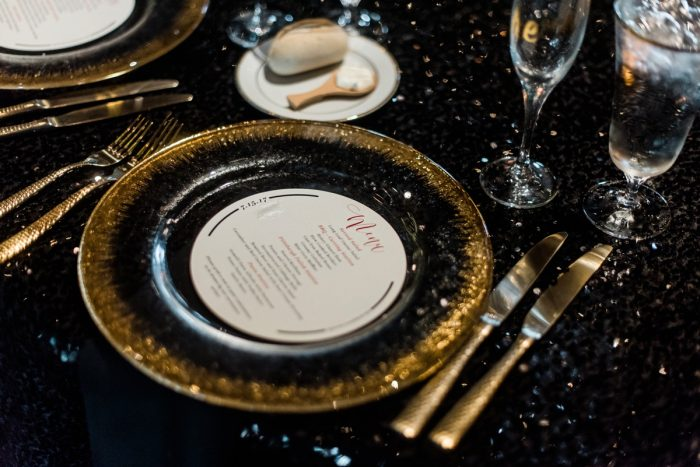 Wedding Tablescape Ideas: Glamorous Black, White, & Gold Wedding with a Pittsburgh Theme at the Heinz History Center from Sky's the Limit Photography featured on Burgh Brides