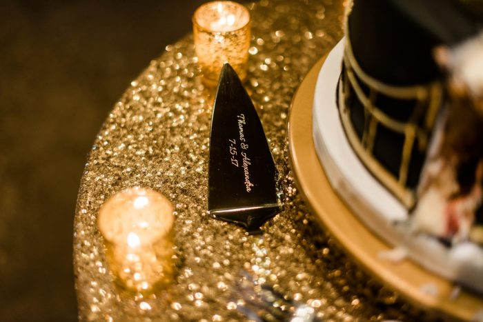 Wedding Cake Knives: Glamorous Black, White, & Gold Wedding with a Pittsburgh Theme at the Heinz History Center from Sky's the Limit Photography featured on Burgh Brides