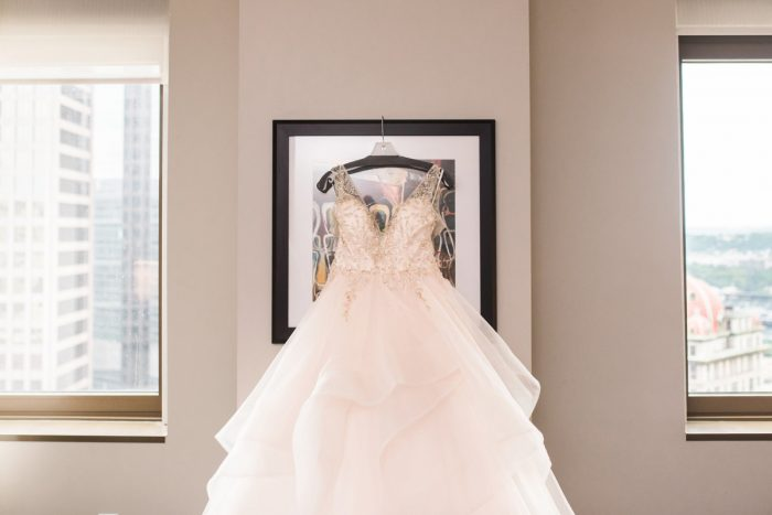 Glamorous Wedding Dress: Glamorous Doubletree Pittsburgh Airport Wedding from Kathryn Hyslop Photography featured on Burgh Brides