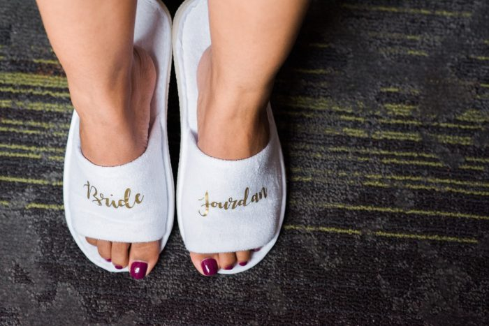 Bride Slippers: Glamorous Doubletree Pittsburgh Airport Wedding from Kathryn Hyslop Photography featured on Burgh Brides