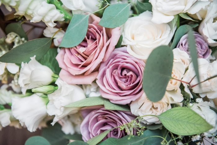 Purple Wedding Flowers: Glamorous Doubletree Pittsburgh Airport Wedding from Kathryn Hyslop Photography featured on Burgh Brides