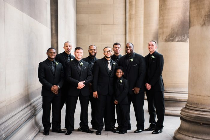 Groom in Black Tuxedo: Glamorous Doubletree Pittsburgh Airport Wedding from Kathryn Hyslop Photography featured on Burgh Brides