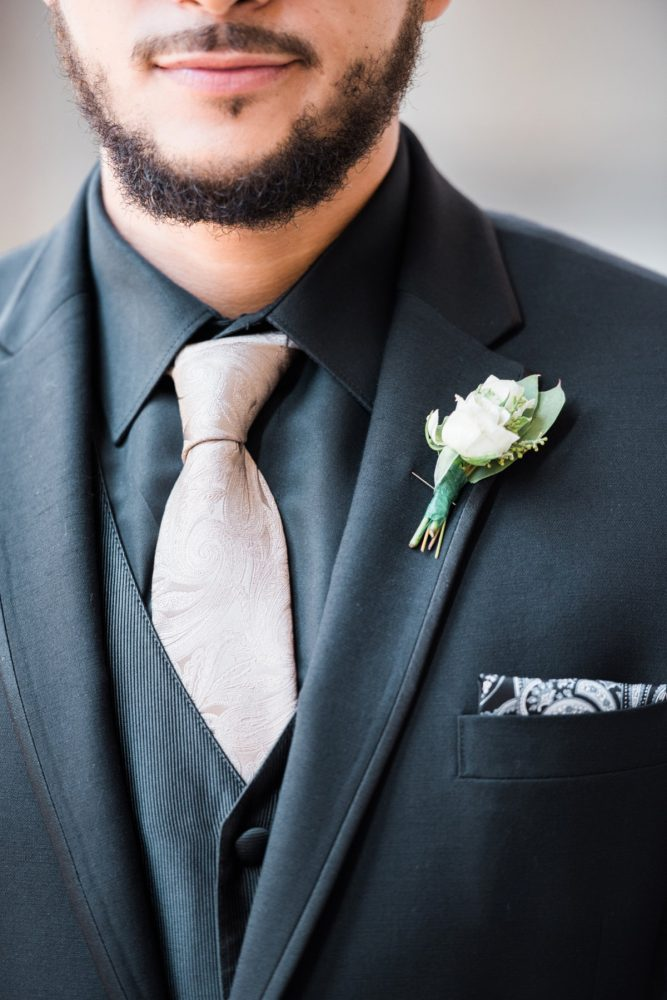 Black and Pink Groom Attire: Glamorous Doubletree Pittsburgh Airport Wedding from Kathryn Hyslop Photography featured on Burgh Brides