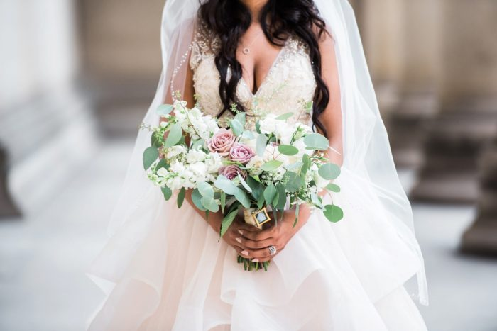 Purple Bridal Bouquet: Glamorous Doubletree Pittsburgh Airport Wedding from Kathryn Hyslop Photography featured on Burgh Brides