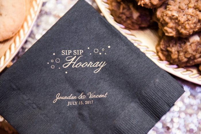 Custom Wedding Cocktail Napkins: Glamorous Doubletree Pittsburgh Airport Wedding from Kathryn Hyslop Photography featured on Burgh Brides