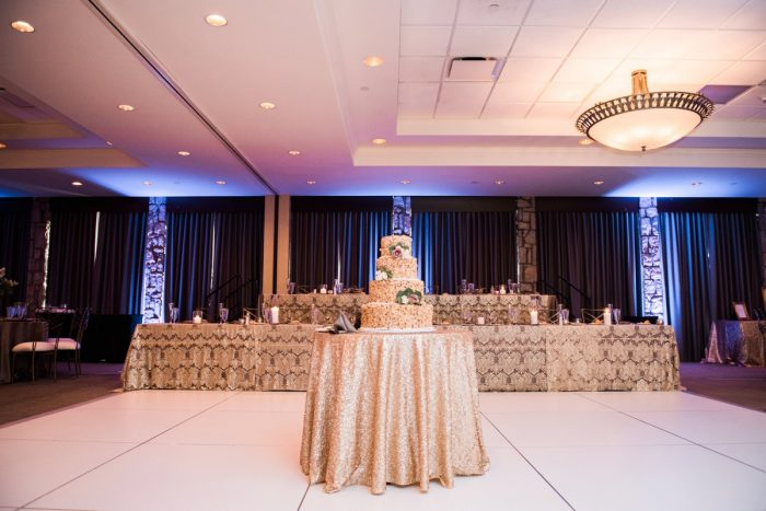 Gold Wedding Decor: Glamorous Doubletree Pittsburgh Airport Wedding from Kathryn Hyslop Photography featured on Burgh Brides