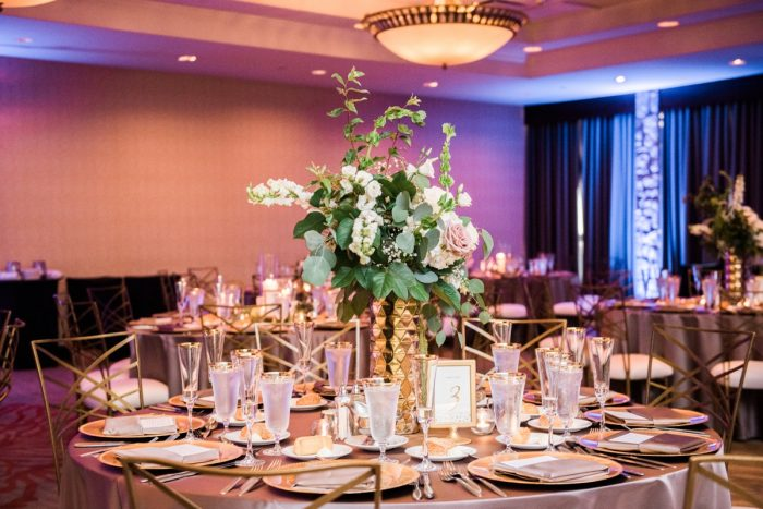 Glamorous Wedding Tablescape: Glamorous Doubletree Pittsburgh Airport Wedding from Kathryn Hyslop Photography featured on Burgh Brides