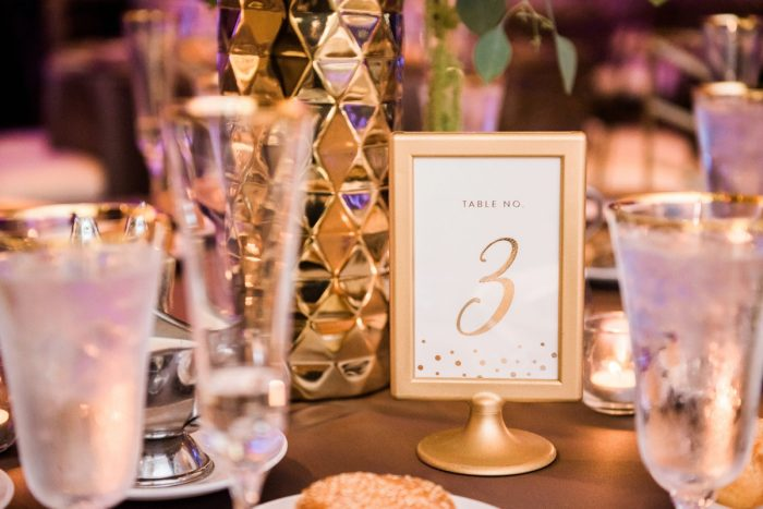 Gold Wedding Table Numbers: Glamorous Doubletree Pittsburgh Airport Wedding from Kathryn Hyslop Photography featured on Burgh Brides