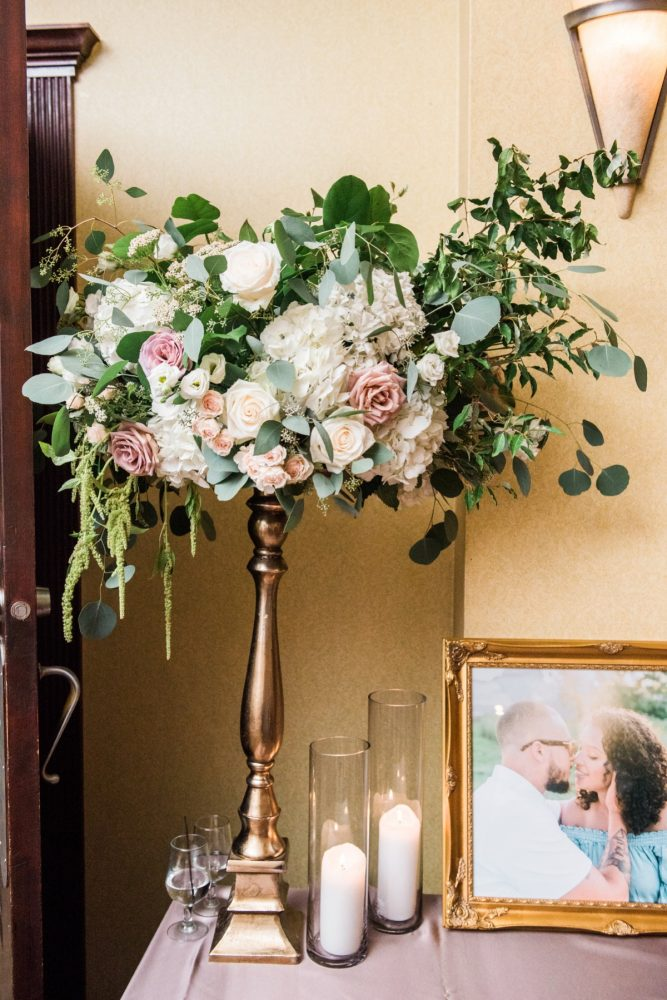 Elevated Wedding Floral Arrangements: Glamorous Doubletree Pittsburgh Airport Wedding from Kathryn Hyslop Photography featured on Burgh Brides