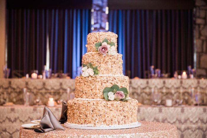 Almond Wedding Cake: Glamorous Doubletree Pittsburgh Airport Wedding from Kathryn Hyslop Photography featured on Burgh Brides