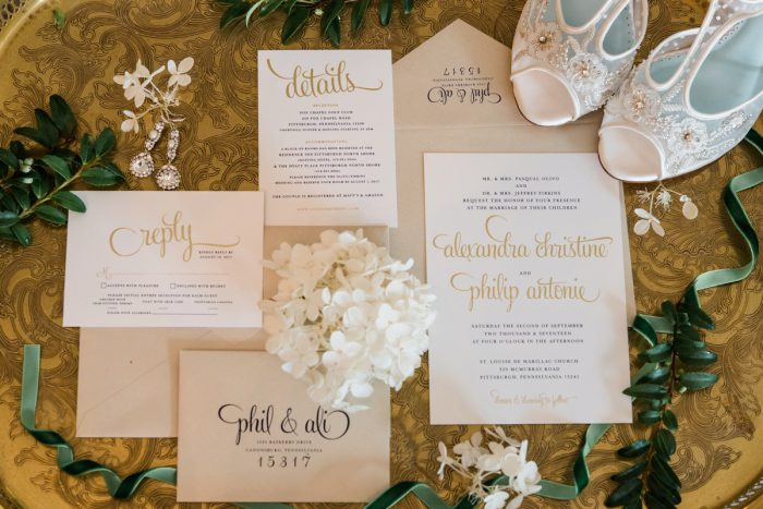 White & Taupe Wedding Invitations: Stunning & Enchanting Wedding at Fox Chapel Golf Club from Dawn Derbyshire Photography featured on Burgh Brides