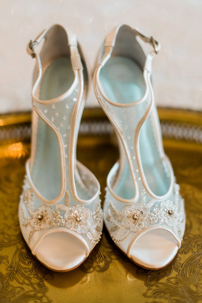 Lace Bridal Shoes: Stunning & Enchanting Wedding at Fox Chapel Golf Club from Dawn Derbyshire Photography featured on Burgh Brides