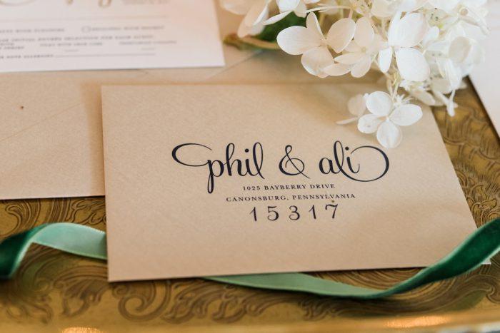 Handlettered Wedding Invitations: Stunning & Enchanting Wedding at Fox Chapel Golf Club from Dawn Derbyshire Photography featured on Burgh Brides