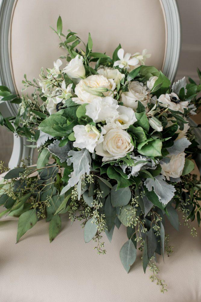 White & Green Bridal Bouquet: Stunning & Enchanting Wedding at Fox Chapel Golf Club from Dawn Derbyshire Photography featured on Burgh Brides