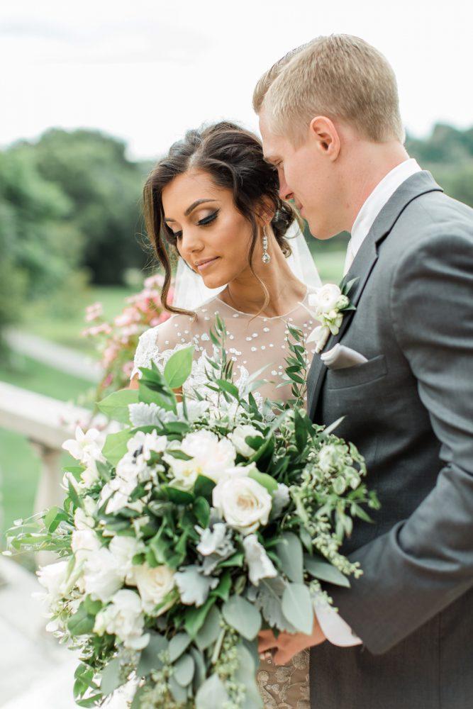 Greenery Wedding Bouquet: Stunning & Enchanting Wedding at Fox Chapel Golf Club from Dawn Derbyshire Photography featured on Burgh Brides