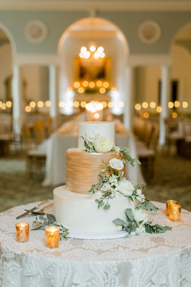 Gold and White Wedding Cake: Stunning & Enchanting Wedding at Fox Chapel Golf Club from Dawn Derbyshire Photography featured on Burgh Brides