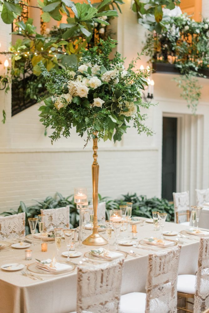 Elevated Floral Arrangements at Wedding: Stunning & Enchanting Wedding at Fox Chapel Golf Club from Dawn Derbyshire Photography featured on Burgh Brides