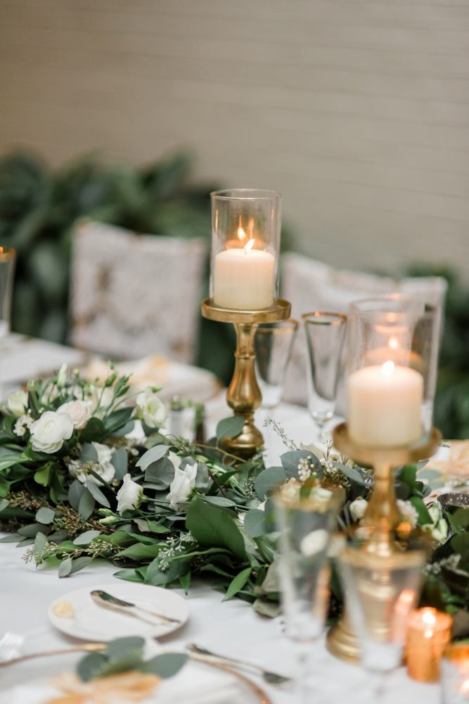 Greenery Table Runners: Stunning & Enchanting Wedding at Fox Chapel Golf Club from Dawn Derbyshire Photography featured on Burgh Brides