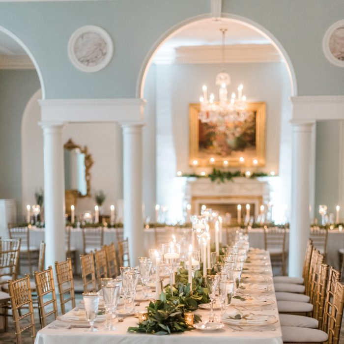 Candles on Long Tables at Wedding: Stunning & Enchanting Wedding at Fox Chapel Golf Club from Dawn Derbyshire Photography featured on Burgh Brides