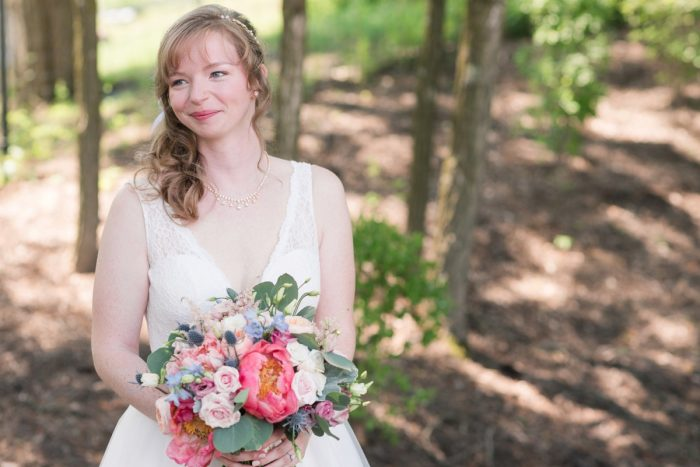 Bright Coral Bridal Bouquet: Sweet & Charming Wedding at the Pittsburgh Botanic Garden from Madeline Jane Photography and Olive & Rose Events featured on Burgh Brides