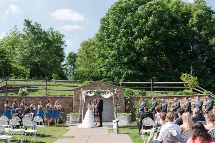 Outdoor Wedding Ceremony: Sweet & Charming Wedding at the Pittsburgh Botanic Garden from Madeline Jane Photography and Olive & Rose Events featured on Burgh Brides