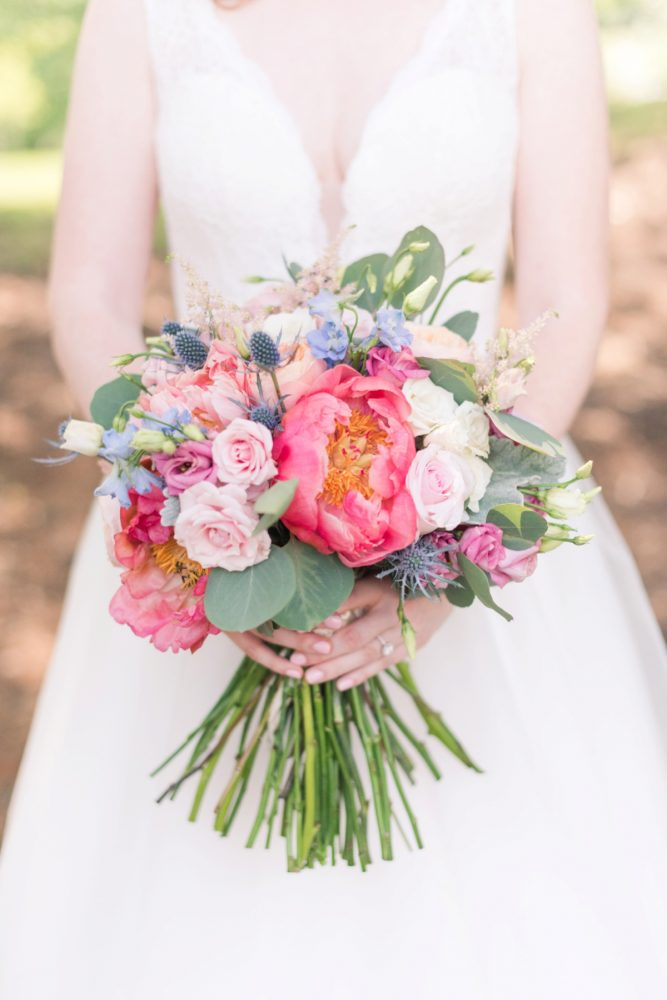 Coral Charm Peony Bridal Bouquet: Sweet & Charming Wedding at the Pittsburgh Botanic Garden from Madeline Jane Photography and Olive & Rose Events featured on Burgh Brides