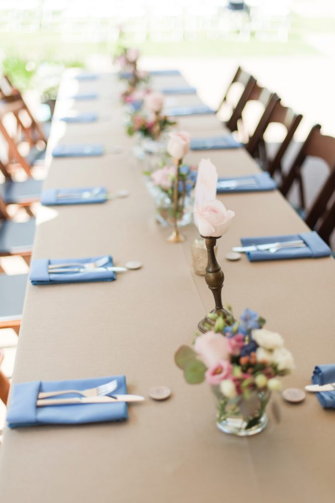 Long Tables at Wedding: Sweet & Charming Wedding at the Pittsburgh Botanic Garden from Madeline Jane Photography and Olive & Rose Events featured on Burgh Brides