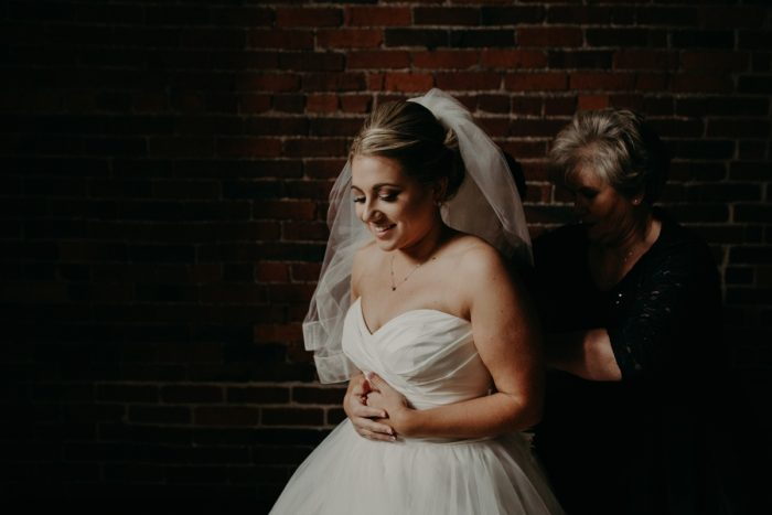 Sweetheart Neck Wedding Dress: White & Gray Industrial Wedding at the History Center from Rachel Rowland Photography featured on Burgh Brides