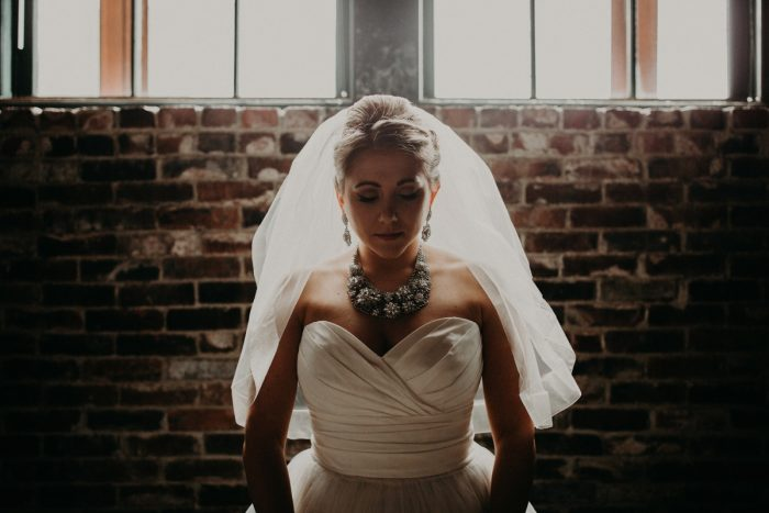 Bride Statement Necklace: White & Gray Industrial Wedding at the History Center from Rachel Rowland Photography featured on Burgh Brides