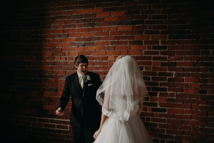 First Look Wedding Photos: White & Gray Industrial Wedding at the History Center from Rachel Rowland Photography featured on Burgh Brides