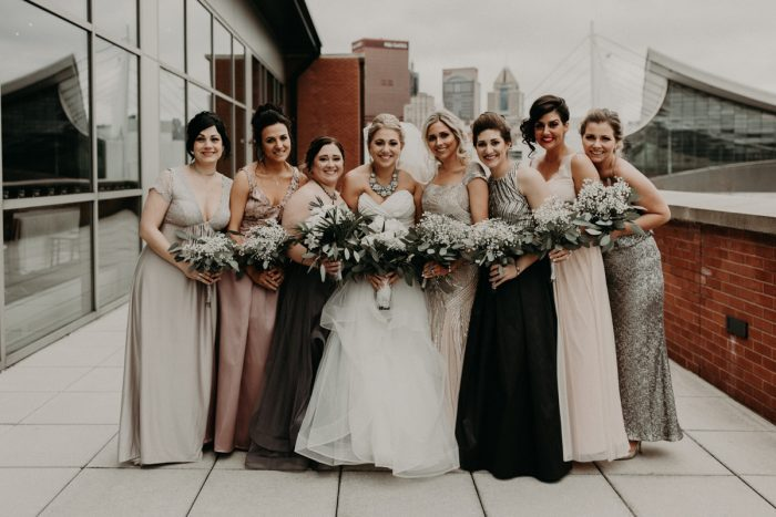 Mismatched Bridesmaids Dresses: White & Gray Industrial Wedding at the History Center from Rachel Rowland Photography featured on Burgh Brides