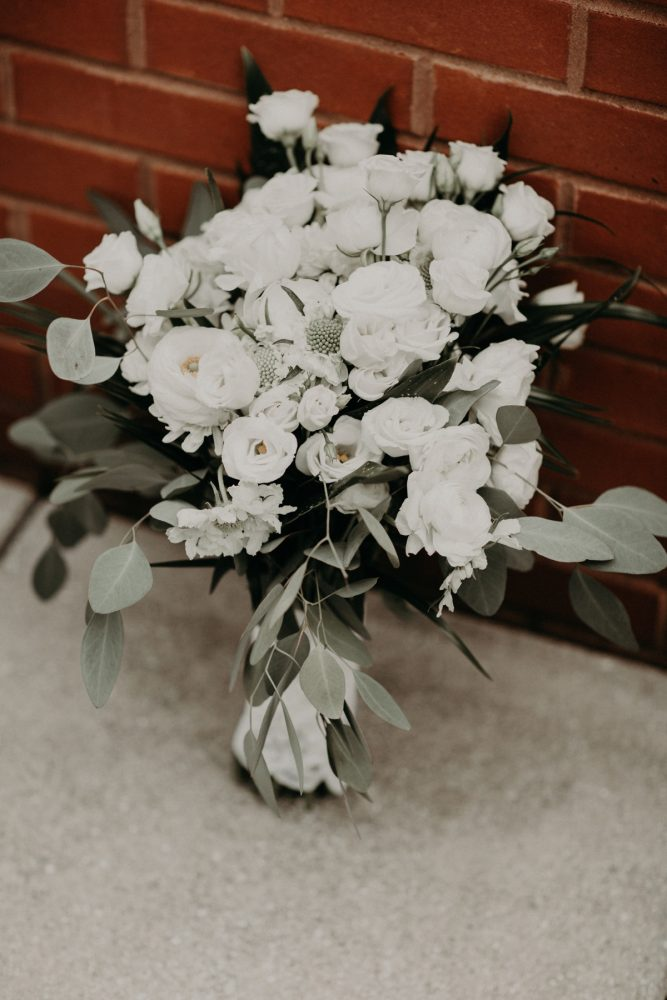 White and Green Bridal Bouquet: White & Gray Industrial Wedding at the History Center from Rachel Rowland Photography featured on Burgh Brides