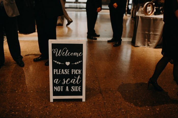 Wedding Ceremony Signs: White & Gray Industrial Wedding at the History Center from Rachel Rowland Photography featured on Burgh Brides