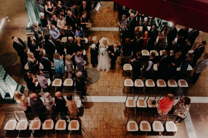 Wedding Ceremony Ideas: White & Gray Industrial Wedding at the History Center from Rachel Rowland Photography featured on Burgh Brides