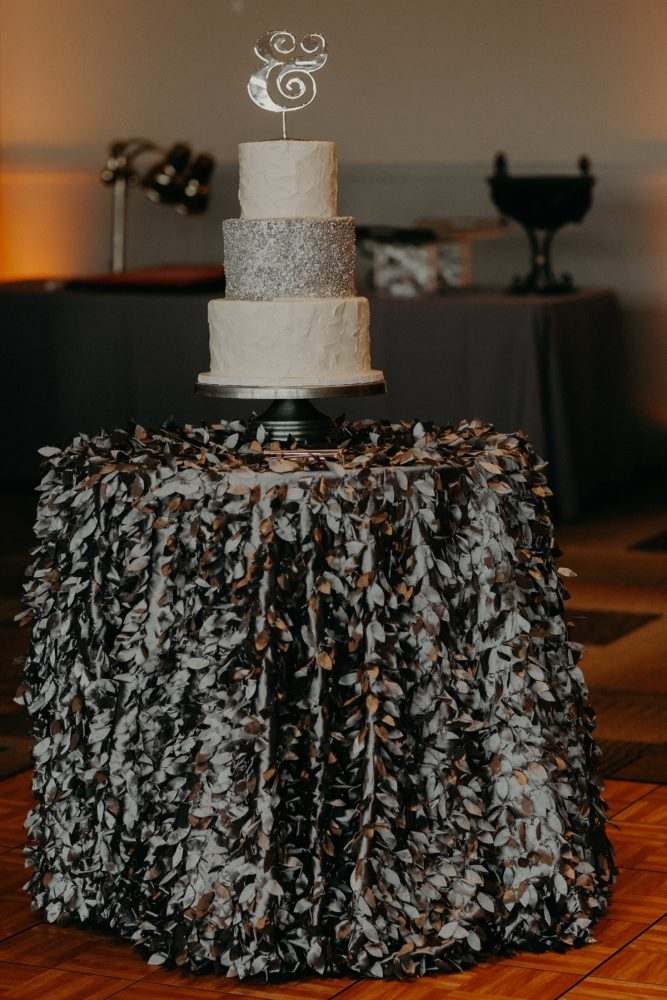 White and Silver Wedding Cake: White & Gray Industrial Wedding at the History Center from Rachel Rowland Photography featured on Burgh Brides