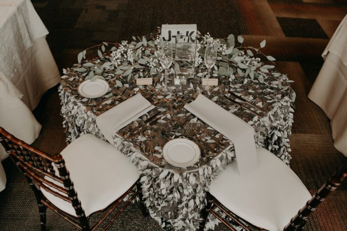 Silver Table Linens: White & Gray Industrial Wedding at the History Center from Rachel Rowland Photography featured on Burgh Brides