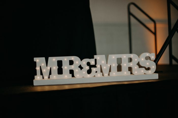 Mr & Mrs Wedding Signs: White & Gray Industrial Wedding at the History Center from Rachel Rowland Photography featured on Burgh Brides