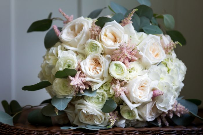 Pink & White Bridal Bouquet: Elegant Blush & Gold Wedding from Annie O'Neil Photography featured on Burgh Brides