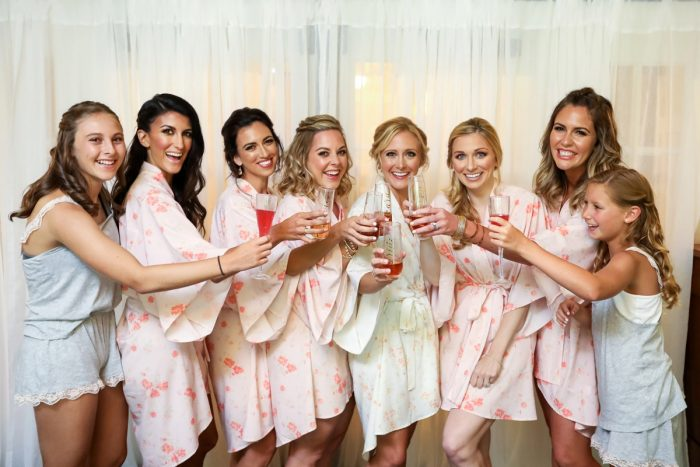 Pink Bridesmaids Robes: Elegant Blush & Gold Wedding from Annie O'Neil Photography featured on Burgh Brides