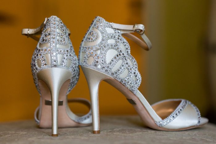 Rhinestone Bridal Shoes: Elegant Blush & Gold Wedding from Annie O'Neil Photography featured on Burgh Brides